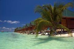 Het strandcabines van Meeru Stock Afbeeldingen