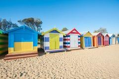 Het strandcabines van Melbourne Stock Foto's