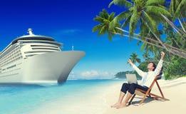 Het Strandconcept van zakenmanrelaxation vacation outdoors royalty-vrije stock fotografie
