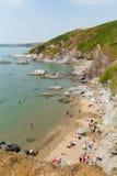Het strandcornwall van de Whitsandbaai kust Engeland het UK Stock Foto