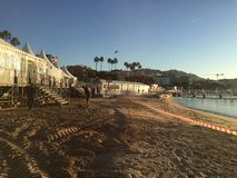 Het Strandgebeurtenis van Cannes met gloeiend zonlandschap stock foto's