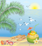 Het strandlandschap van de zomer stock illustratie