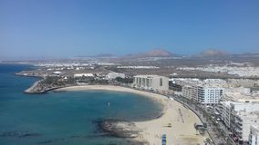 het strandmening van Las Palmas Gran Canaria Stock Afbeeldingen