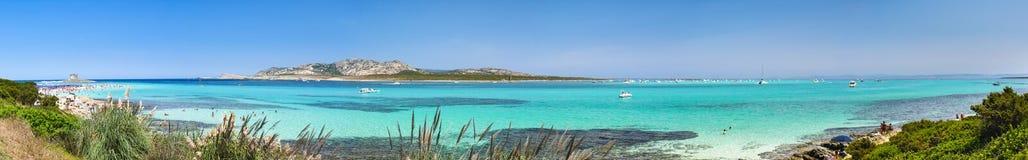 Het strandpanorama van La Pelosa stock afbeelding