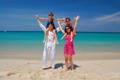 Het strandpret van de familie Stock Fotografie