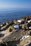 Het strandscène van de winter stock fotografie