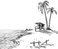 Het strandschets van de zomer Stock Afbeeldingen