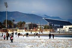 Het Strandsneeuwval van Barcelona Stock Foto's