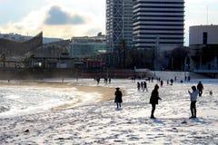 Het Strandsneeuwval van Barcelona Royalty-vrije Stock Afbeelding