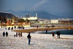 Het Strandsneeuwval van Barcelona Stock Foto