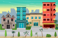 Het strandstad van de straattoevlucht met hotels De eerste lijn van hotels i vector illustratie