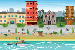 Het strandstad van de straattoevlucht met hotels De eerste lijn van hotels i stock illustratie