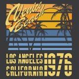 Het strandtypografie van Californië Venetië, het ontwerp van de t-shirtdruk, Etiket van Applique van het de Zomer het vectorkente Royalty-vrije Stock Afbeeldingen