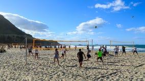 Het strandvolleyball, zet Maunganui, Nieuw Zeeland op stock afbeelding