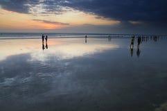 Het strandzonsondergang van Kuta Stock Foto