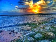 Het strandzonsopgang van Cadiz royalty-vrije stock fotografie
