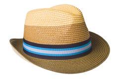 Het strohoed van de zomer die op wit wordt geïsoleerdu Royalty-vrije Stock Foto's