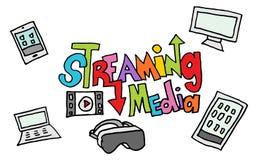 Het stromen media krabbelreeks Stock Fotografie