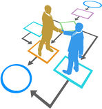 Het stroomschemaproces van de bedrijfsmensenovereenkomst Stock Foto