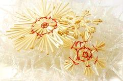 Het strosneeuwvlokken van Kerstmis Royalty-vrije Stock Foto