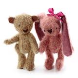 Het stuk speelgoed en de teddybeer van hazen Royalty-vrije Stock Afbeeldingen