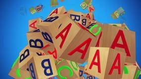 Het stuk speelgoed kubeert met brieven A, B, C op blauw stock footage