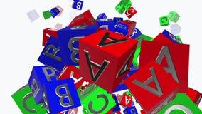 Het stuk speelgoed kubeert met brieven A, B, C op wit stock footage