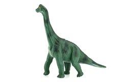 Het stuk speelgoed van Apatosaurusdinosaurussen op witte achtergrond Stock Foto's