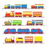 Het stuk speelgoed van beeldverhaaljonge geitjes treinen, locomotief en wagens vectorreeks royalty-vrije illustratie