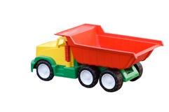 Het stuk speelgoed van de baby stortplaatsvrachtwagen die op wit wordt geïsoleerd= Royalty-vrije Stock Afbeelding