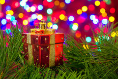 Het stuk speelgoed van de Chritmasboom, doos van stelt voor Stock Fotografie