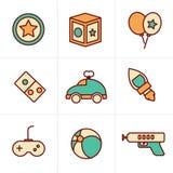 Het stuk speelgoed van de de Pictogrammenstijl van de pictogrammenstijl pictogrammen, mono vectorsymbolen Stock Afbeelding