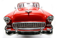 Het stuk speelgoed van de het metaalschaal van Chevolet 1955 auto fisheye frontview stock afbeelding