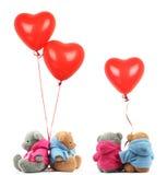 Het stuk speelgoed van de teddybeer met ballon stock afbeeldingen