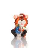 Het stuk speelgoed van de tijger beeldje stock foto's