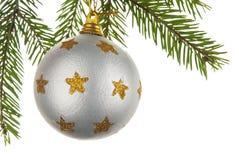 Het stuk speelgoed van Kerstmis op een tak van een bont-boom Stock Fotografie