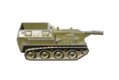 Het stuk speelgoed van kinderen: een zeer oude gemotoriseerde Artillerieinstallatie Stock Foto