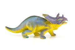 Het stuk speelgoed van Triceratopsdinosaurussen dat op wit wordt geïsoleerd Stock Fotografie