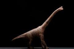 Het stuk speelgoed van zijaanzichtbrachiosaurus op dark Stock Afbeeldingen