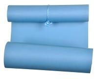 Het stuk van blauw die document rolde omhoog in broodje op witte achtergrond wordt geïsoleerd Royalty-vrije Stock Foto's