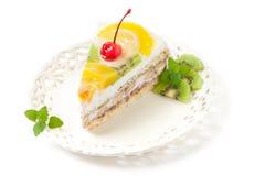 Het Stuk van de Cake van het fruit Royalty-vrije Stock Foto's