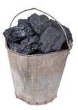 Het stuk van de steenkool in de emmer Stock Fotografie