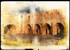 Het stuk van Grunge van oude muur Stock Afbeeldingen