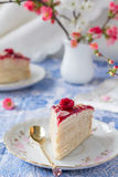 Het stuk van mascarpone omfloerst cake Stock Foto's