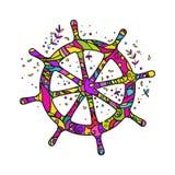 Het stuurwiel van het schip `s Kleur Doodling Ge?soleerde vector op witte achtergrond stock illustratie