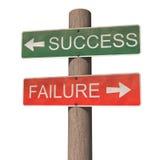 Het succes en de mislukking voorzien van wegwijzers Royalty-vrije Stock Afbeeldingen