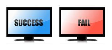 Het succes en ontbreekt monitorsillustratie Stock Afbeelding