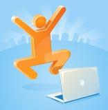 Het Succes van het E-business van de Mens van de stok Stock Afbeelding