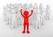 Het succesvolle concept van de teamleider De mens van Toon met zijn leger van mensen Stock Afbeelding