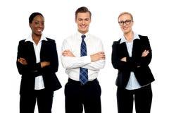 Het succesvolle gelukkige commerciële team stellen Royalty-vrije Stock Afbeeldingen